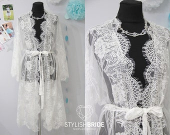 Bridal Robe Lace, Chantilly Lace Robe, Lace Bridal Robe, Lace Sleeve Robe, Embroidered Lace Bridal Robe,  French Lace Wedding Robe