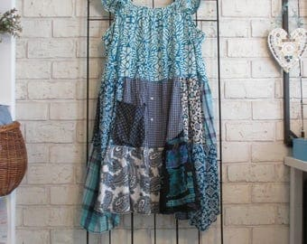 Women's XL to 2XL upcycled, repurposed, eco-friendly dress/tunic, shabby boho bohemian junk gypsy lagenlook patchwork chic artsy style