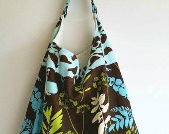Hobo Bag-Slouch Bag-Boho Bag-Sling Purse- Shoulder Bag- Medium Purse-Handbag- Brown, Aqua, Green Print with contrasting aqua band with Birds