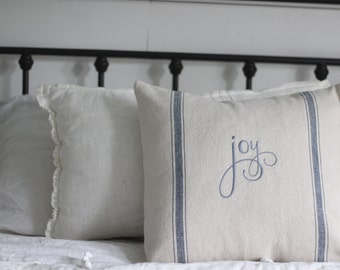 Joy Grain Sack Pillow Cover, Blue
