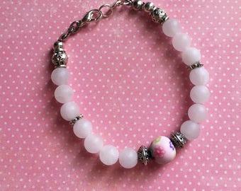 Pink pearls Quartz and fimo bracelet