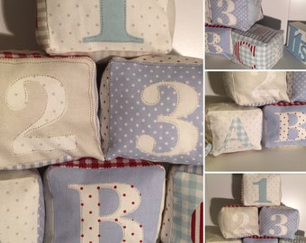 Handmade Personalized fabric Letter / number blocks, Christmas gift / stocking filler / gift for baby