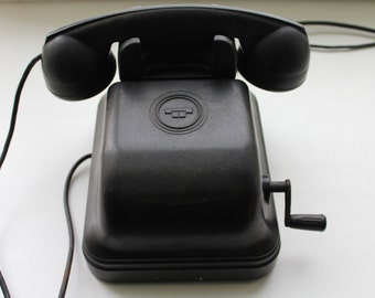 Soviet wall phone 1950's. Soviet telephone. Vintage phone. Vintage telephone. Rotary Dial Phone. Black rotary phone