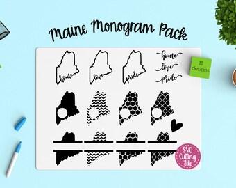 11 Maine SVG - Maine State SVG - Maine Monogram Frames - Maine Pride - Maine Love - Maine Home