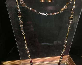 Amber Tree Trunk Handmade Necklace with Brown Agate stone