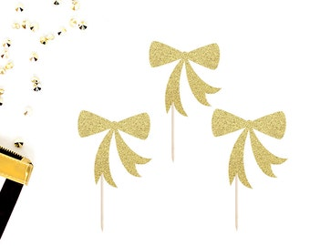 Bow Cupcake Toppers (Set of 12) | Baby Shower Cupcake Toppers | Birthday Toppers | Gender Reveal | Bachelorette Party | Glitter Bow Toppers