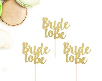 Bride To Be Cupcake Toppers (Set of 12)   Bridal Shower Cupcake Toppers   Engagement Party Cupcake Toppers   Glittery Bride To Be Toppers