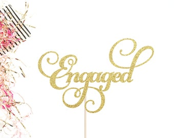 Engaged Cake Topper | Engagement Party Cake Topper | Bridal Shower Topper | We're Engaged | Engagement Cake Topper | Engagement Party Decor