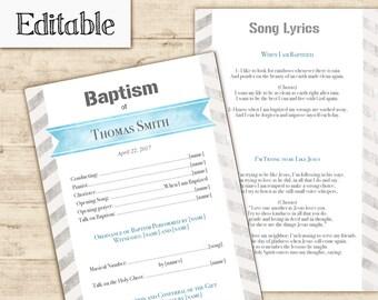 Baptism Program, Editable PDF, LDS Printable Digital Handout boy Baptism, Blue Grey Watercolor, Baptism template