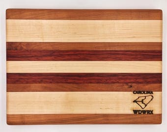 Wooden Cutting Board - Cherry, Maple, and Padauk Wood