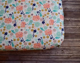 Floral Fitted Crib Sheet, Baby Bedding, Baby Girl Nursery, Floral Toddler Bedding, Turquoise, Navy, Peach, Pink, Mint