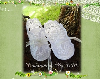 Baby booties white lace- (nub.14) -4x4 hoop-FSL-0-3 months-video tutorial