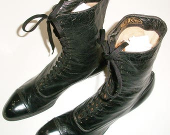 Victorian Black Lace-Up Boots - Larger Size
