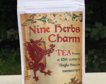 Mixed Anglo-Saxon Nine Herbs Charm Organic Tea 20g SAMPLE Herbal Tea, Nine Sacred Anglo-Saxon Herbs