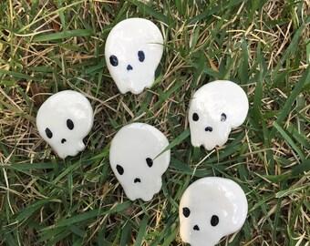 Skull Boy Ceramic Pin