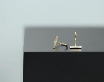 Hugging Hoops with Bar, 14kt Gold-filled Hoop Earrings, Minimal Line Earring