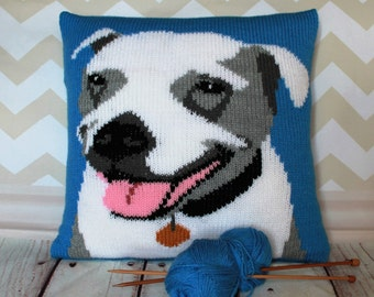 Knitting Pattern PDF Download - Staffie/Staffordshire Bull Terrier Pet Portrait Pillow Cushion Cover