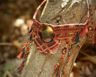 "Handmade tribal choker Macrame Necklace ""Pocahontas"" with Labradorite stone, nativeamerican style, wild jewelry, spiritual, tribaljewelry"