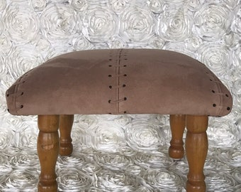 Vintage tan suede leather foot stool - ottoman - foot rest -reupholstered