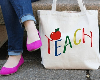 TEACH Design Teacher's Tote | School Teacher Tote | University Teacher Tote | Tutor Tote | Books Tote