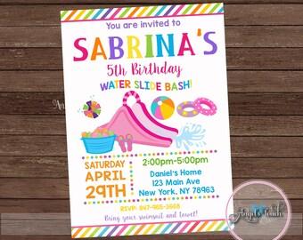Water Slide Party Invitation, Girl Waterslide Birthday Invitation, Water Slide Birthday Party Invitation, Girl Pool Party, Digital File