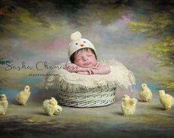 digital backdrop , background  newborn  boy or girl  cream Easter chickens