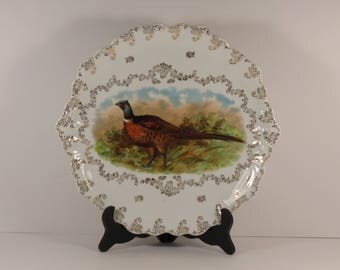 "Set of Six Vintage Mignon Z. S. & Co. 'Zeh, ""Scherzer"" PUNCH Series Bavaria Grand 12"" and 8.5"" Game Bird Pheasant Plates"