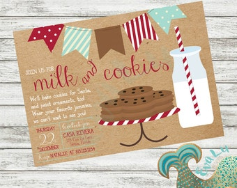 Milk and Cookies Party Invitation | Cookies and Milk | Cookies for Santa | Christmas Party | Kids Christmas Party | Custom Invitation