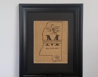 Mississippi with Magnolia's burlap print