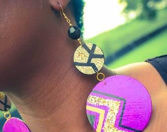 Retro purple earrings