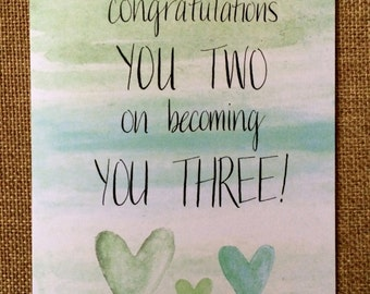 Congratulations You Three - New Baby or Adoption Card - Watercolor Handwritten Card for New Parents - Unisex Baby - Moms, Dads, Co-Parents