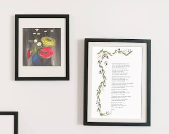 Confirmation Gift, Holy Spirit Prayer art poster, watercolor flowers, Easter, Baptism Gift