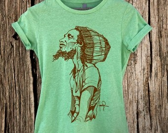 Bob Marley Sketch Women's Graphic Tee shirt Reggae- One Love-T-shirt