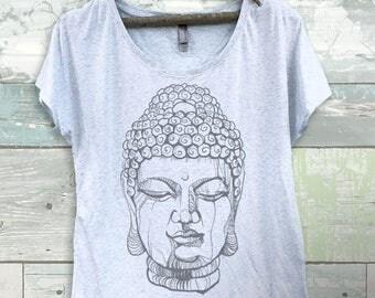 Buddha Face Women's Dolman Scoop Graphic T-shirt- Shirt-Tee-Graphic=Yoga Clothing