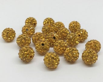 50pcs 8mm 10mm Gold Pave Crystal Beads, Shamballa Beads,Disco Ball Beads For Jewelry Making