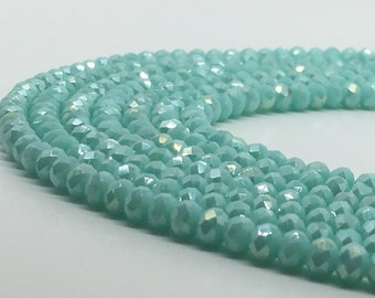 1Full Strand Light Blue Crystal Rondelle Beads,4*3mm Faceted Crystal Glass Beads For Jewelry making