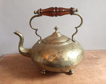 Victorian Brass Footed Teapot / 'Toddy Kettle' with Beautiful Amber Coloured Glass Handle