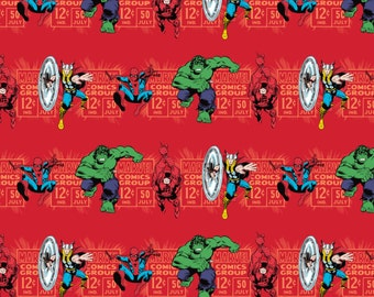 Marvel Fabric - Camelot Marvel Comics Price & Hero Stripe in Red 100% cotton Fabric by the yard, D215