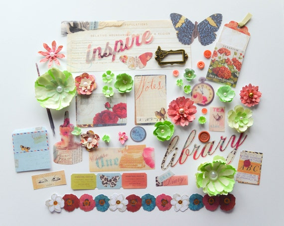 Pink, green, and blue scrapbooking layout kit by Carrie Williams - Dear Zae - dearzae.com, featuring vellum, die cuts, and handmade flowers