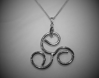 Pendant, Large, Sterling Silver, Celtic Triskell