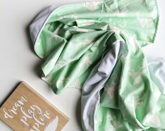 Baby Blanket (Mint Stag) - Bunny rug, Stroller blanket, baby bedding, Car blanket, Baby gift,