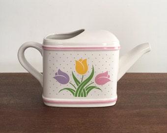 Vintage Planter, Vintage Vase, Vintage Watering Can Home Decor, Vintage Teleflora Vase, 1985 Teleflora Watering Can Vase