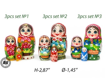 Matryoshka Russian dolls Wooden nesting dolls Kids Room Decor Nesting dolls for kids Handmade gifts Russian stacking dolls babushka 2,87""