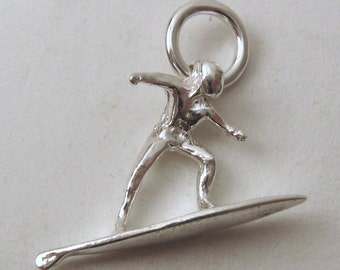 Genuine Solid 925 Sterling Silver BEACH SURFER Charm/Pendant