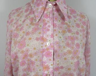 1970s DEBRO Floral Ladies Blouse-UK16