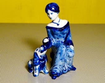 Gzhel Russian Porcelain Figurine Lady with dog handmade hand painted Souvenirs Russia