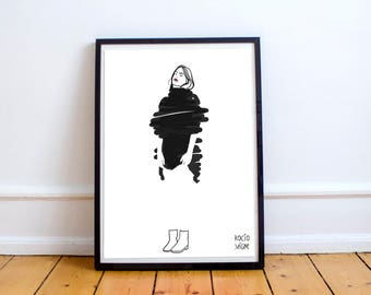 Dreaming - lovely illustration for special people, poster, fashion drawing, print, home decoration, paintings