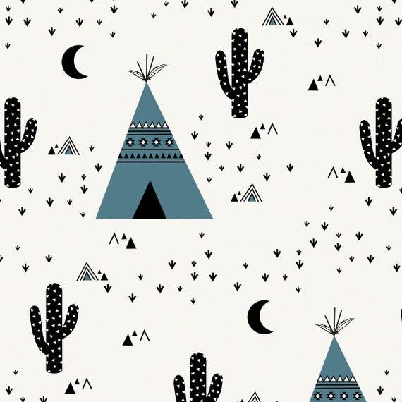 tissu jersey tipi tissu blanc noir tissu pour enfants. Black Bedroom Furniture Sets. Home Design Ideas