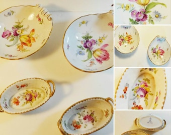 Dresden China, Mason China, Antique Floral Mini Baskets And Shell Shaped Bowls, 1800s