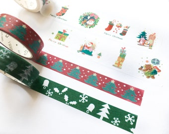 Christmas Trees and Snow Washi Tape Set of Three/ X'mas Washi Tape/ Holiday Washi tape/ Red and Green/ Masking Tape/ Gift Wrapping